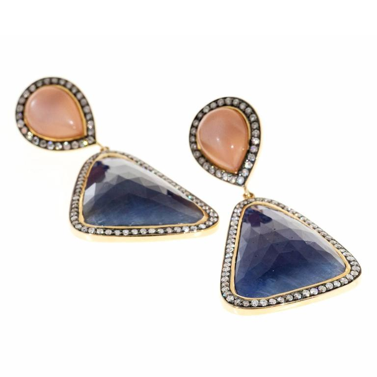 Peach Moonstone Sapphire Diamond Gold Dangle Earrings  For Sale 1