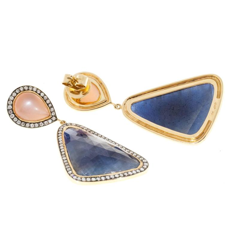 Peach Moonstone Sapphire Diamond Gold Dangle Earrings  4