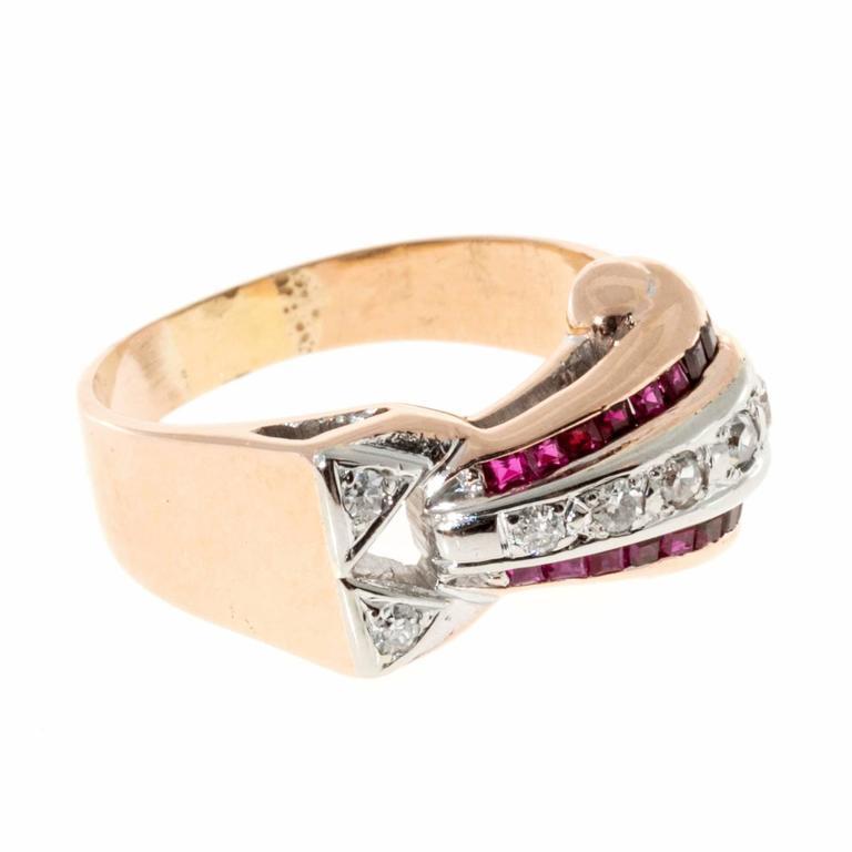 Ruby Diamond Gold Palladium Ring 4