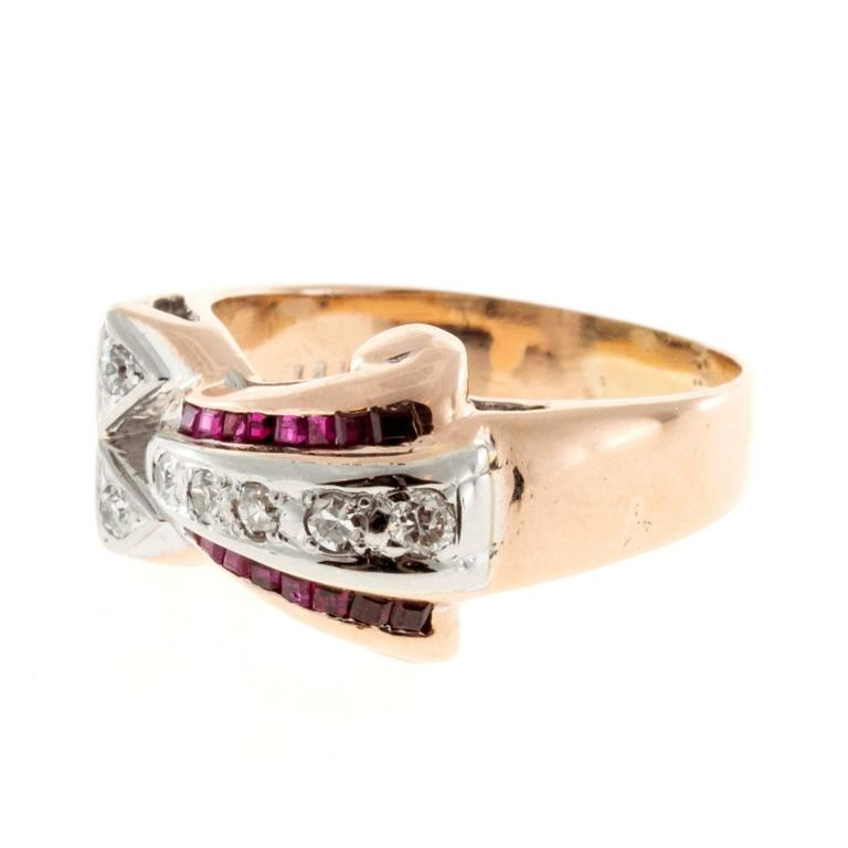 Ruby Diamond Gold Palladium Ring 5