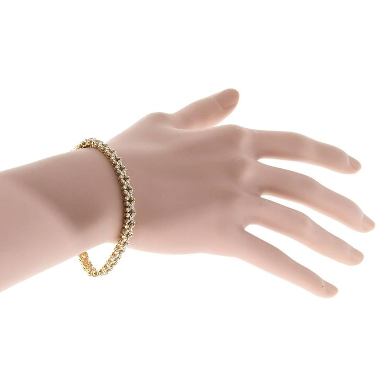 Diamond Gold Hinged Link Bracelet For Sale 1