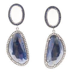 Sapphire Diamond Moonstone Gold Dangle Earrings