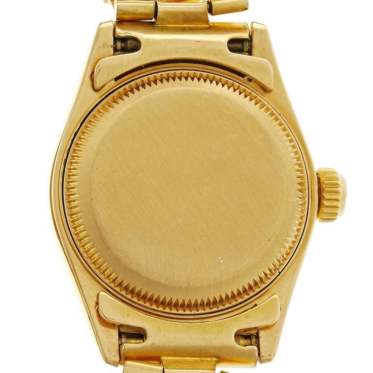 Rolex Lady's yellow gold President Pin Stripe Dial Wristwatch Ref 69178 4