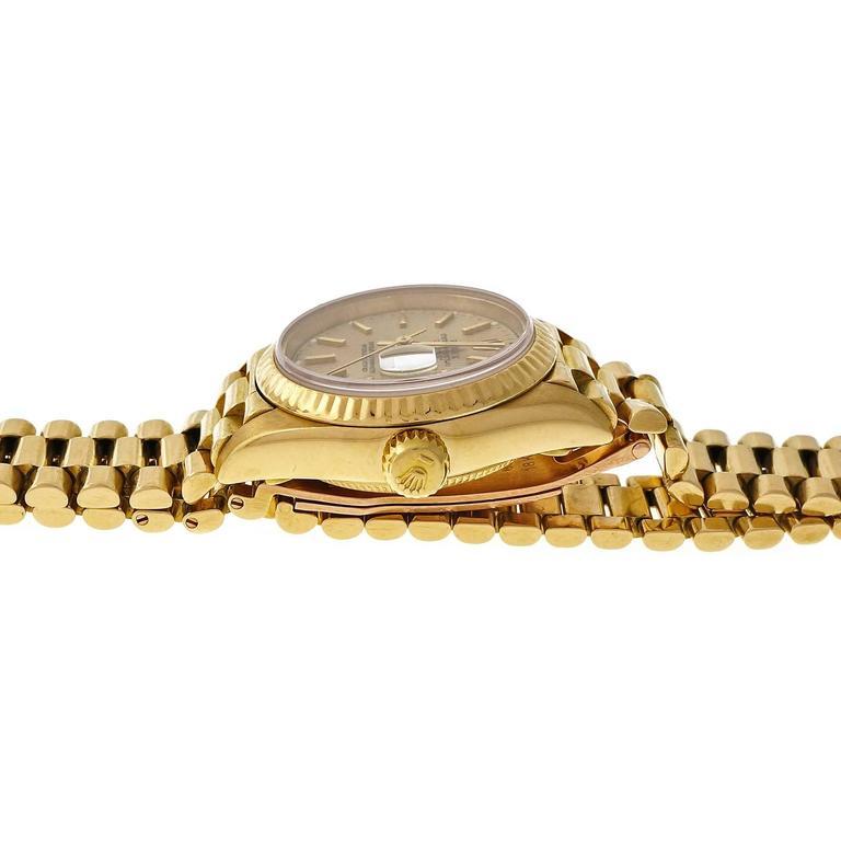 Rolex Lady's yellow gold President Pin Stripe Dial Wristwatch Ref 69178 5