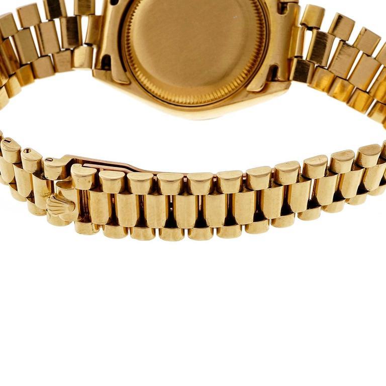 Rolex Lady's yellow gold President Pin Stripe Dial Wristwatch Ref 69178 6
