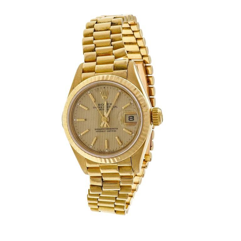 Rolex Lady's yellow gold President Pin Stripe Dial Wristwatch Ref 69178 3