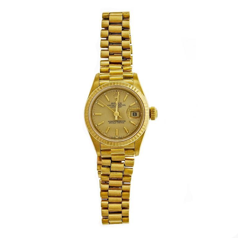 Rolex Lady's yellow gold President Pin Stripe Dial Wristwatch Ref 69178 2