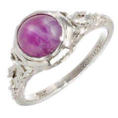 GIA Certified 2.53 Carat Natural Red Star Ruby Filigree Platinum Engagement Ring