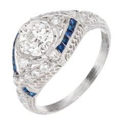EGL Certified .61 Diamond Sapphire Platinum Art Deco Dome Engagement Ring