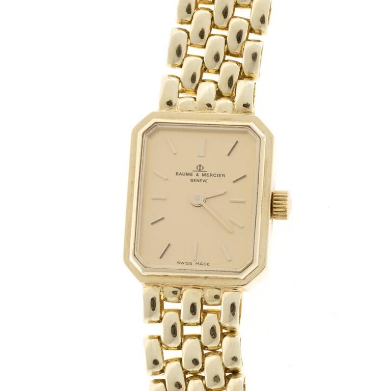 b47f91187b9 Baume and Mercier Ladies Yellow Gold 5 Row Panther Quartz Wristwatch For  Sale at 1stdibs