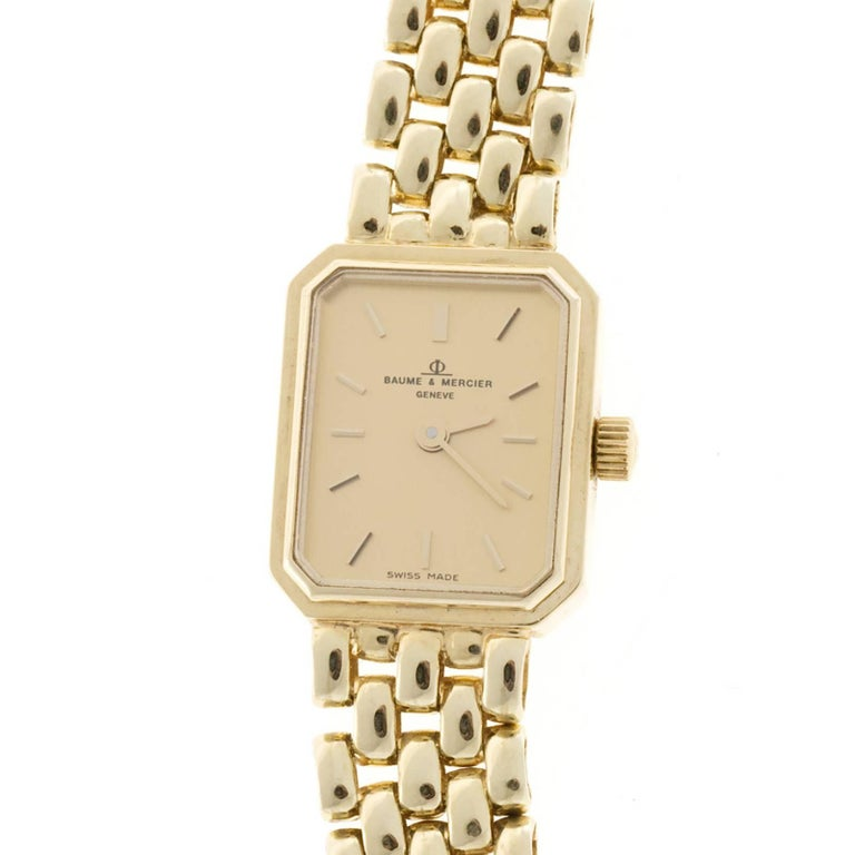 Baume & Mercier Ladies Yellow Gold 5 Row Panther Quartz Wristwatch For Sale