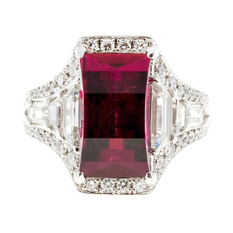 Rubellite Red Tourmaline Diamond Platinum Engagement Ring