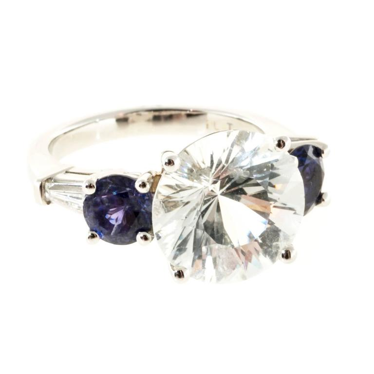GIA Cert Sapphire Diamond Baguette Platinum Ring