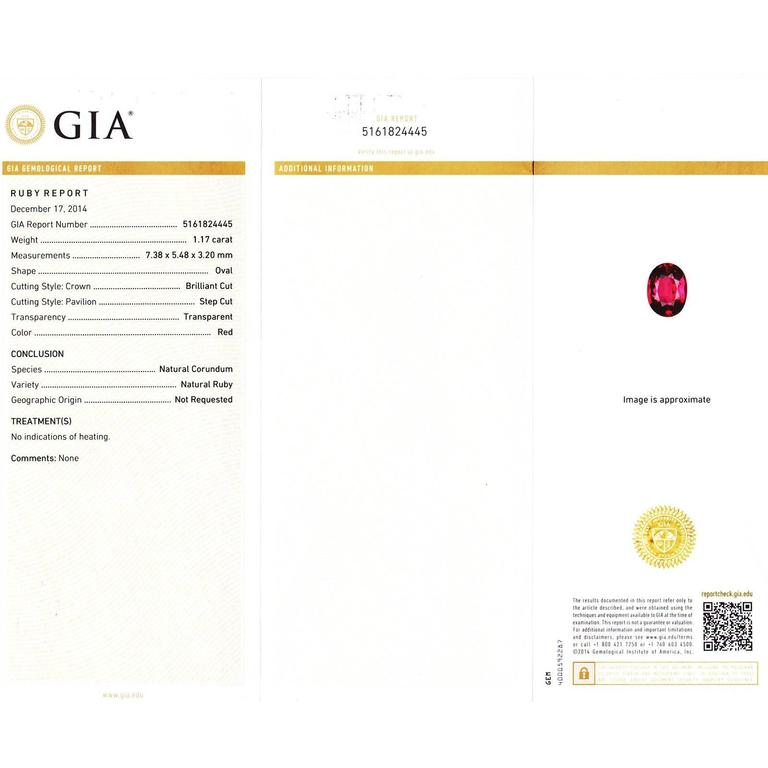 GIA Certified 1.17 Carat Ruby Diamond Halo Gold Engagement Ring For Sale 2