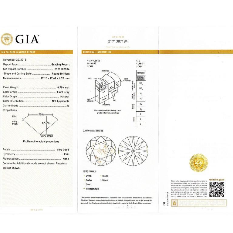 GIA Certified 7.40 Carat Diamond Platinum Pendant Necklace For Sale 1