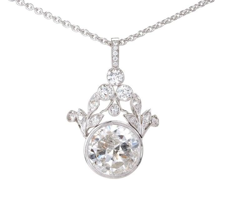 GIA Certified 7.40 Carat Diamond Platinum Pendant Necklace For Sale 2