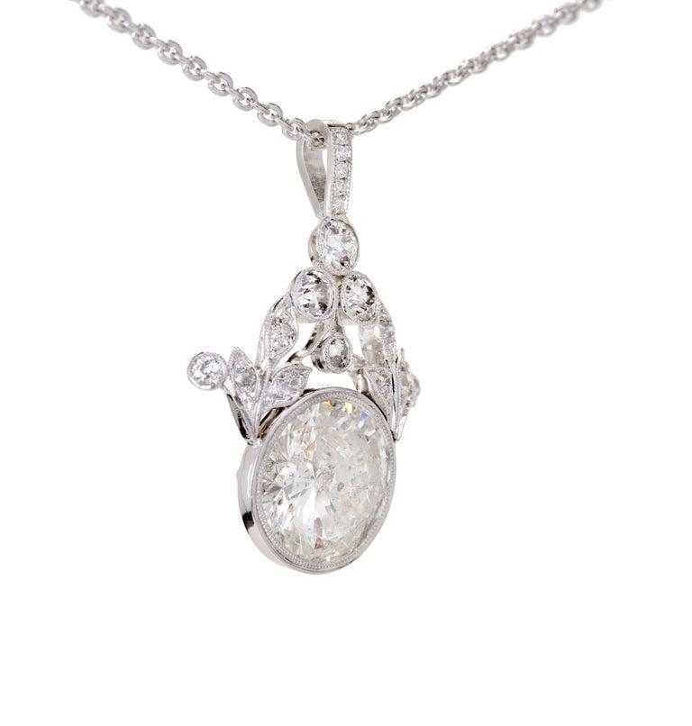 GIA Certified 7.40 Carat Diamond Platinum Pendant Necklace For Sale 3
