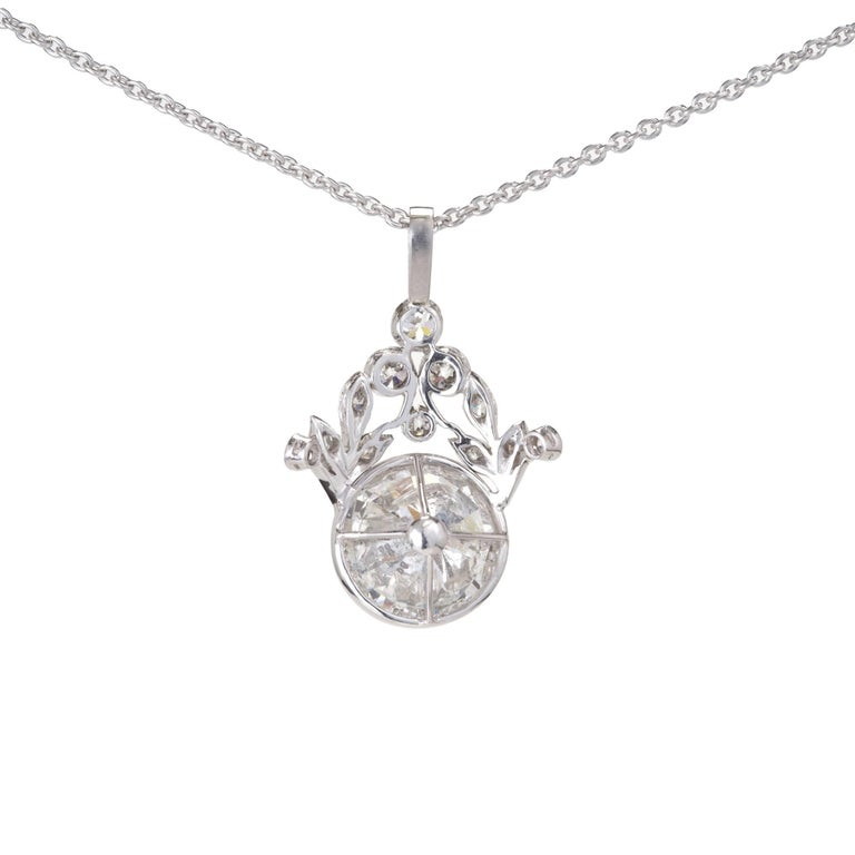 GIA Certified 7.40 Carat Diamond Platinum Pendant Necklace In Good Condition For Sale In Stamford, CT