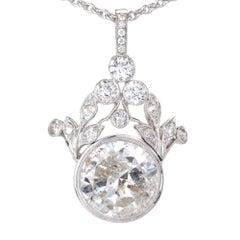 GIA Certified 7.40 Carat Diamond Platinum Pendant Necklace