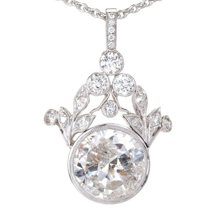 GIA Certified 7.40 Carat Diamond Platinum Pendant Necklace For Sale