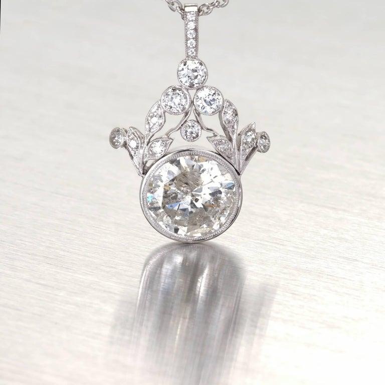 Women's GIA Certified 7.40 Carat Diamond Platinum Pendant Necklace For Sale