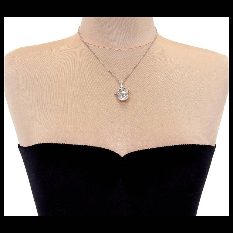 GIA Certified 7.40 Carat Diamond Platinum Pendant Necklace For Sale 4