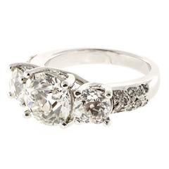 Old European Cut Diamond Platinum Three Stone Ring