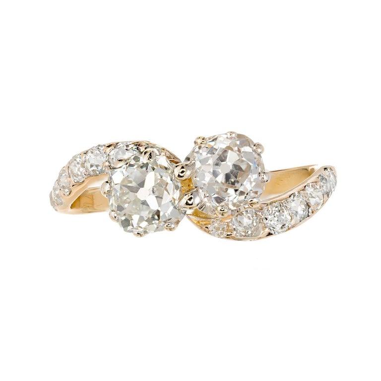 1.01 Carat Double Diamond Gold Art Deco Bypass Engagement Ring