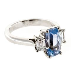 Natural Cushion Sapphire And Diamond Platinum Ring