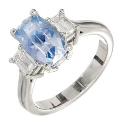 2.79 Carat Natural Cushion Sapphire Diamond Three-Stone Platinum Ring