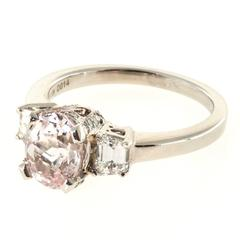 Natural Peach And Orange GIA Cert Sapphire Diamond Platinum Ring