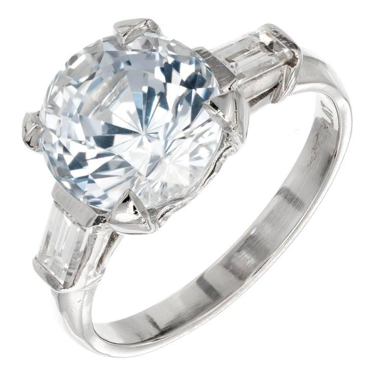 GIA Certified 3.93 Carat Sapphire Diamond Three-Stone Platinum Engagement Ring