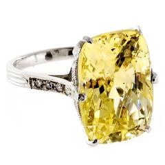 Natural Yellow Sapphire Diamond Platinum Ring
