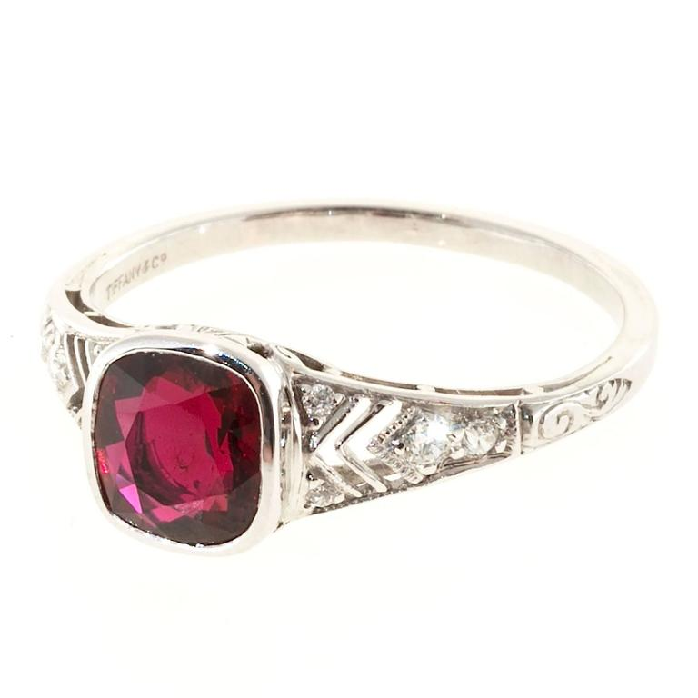 Tiffany Co Platinum Lucida 2mm Wedding Band Ring Sz 8: Tiffany And Co. Ruby Diamond Platinum Ring For Sale At 1stdibs