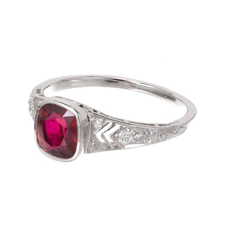 Tiffany & Co. GIA Certified 1.52 Carat Ruby Diamond Platinum Engagement Ring 5