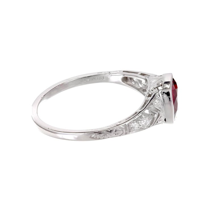 Tiffany & Co. GIA Certified 1.52 Carat Ruby Diamond Platinum Engagement Ring 7