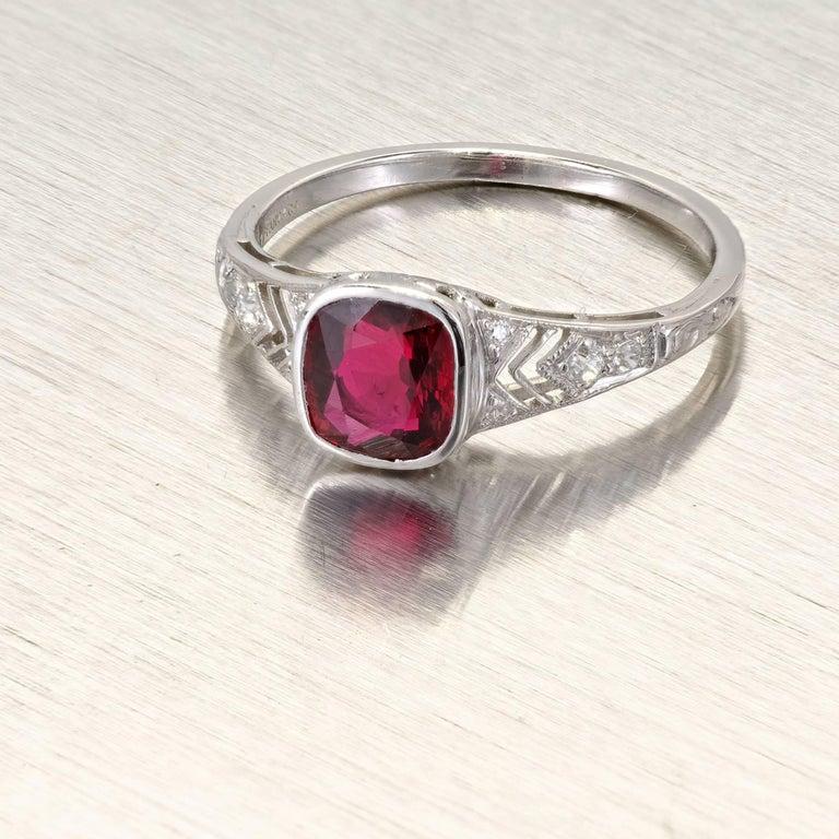 Tiffany & Co. GIA Certified 1.52 Carat Ruby Diamond Platinum Engagement Ring 3