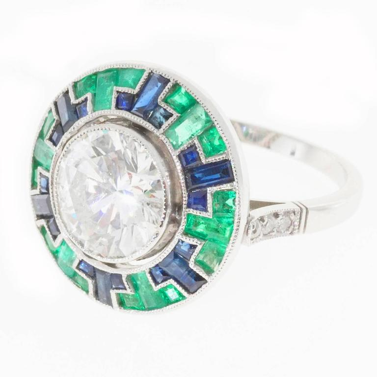 Emerald Cut Sapphire Halo Ring