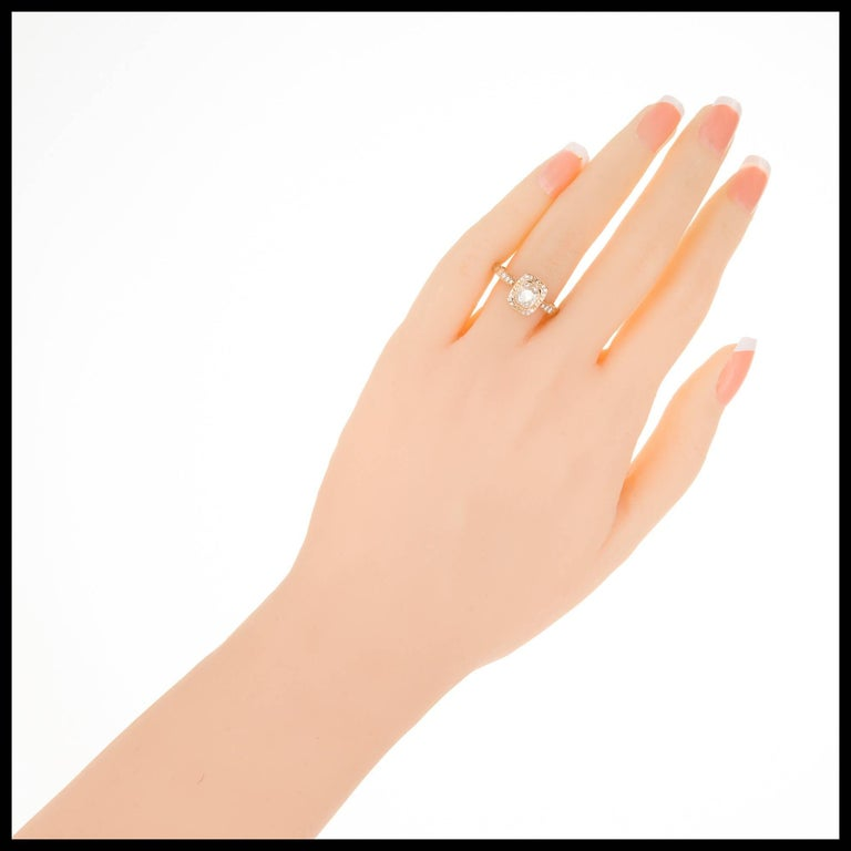 Peter Suchy .96 Carat Diamond Halo Rose Gold Engagement Ring For Sale 1