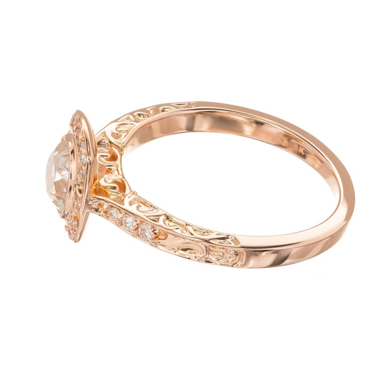 Peter Suchy .96 Carat Diamond Halo Rose Gold Engagement Ring For Sale 4