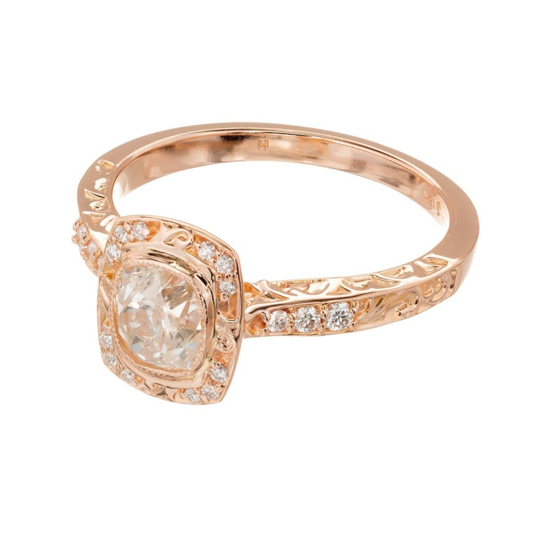 Old Mine Cut Peter Suchy .96 Carat Diamond Halo Rose Gold Engagement Ring For Sale