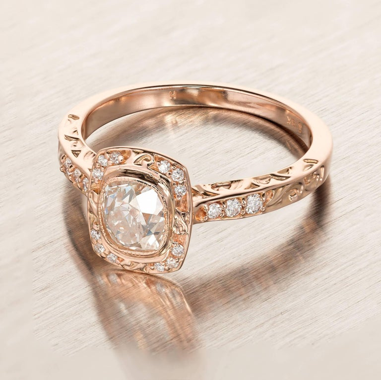 Peter Suchy .96 Carat Diamond Halo Rose Gold Engagement Ring In Good Condition For Sale In Stamford, CT
