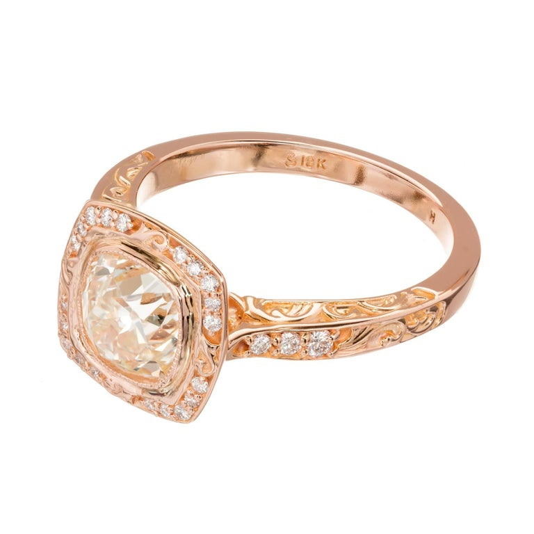 Women's EGL Certified Peter Suchy 1.54 Carat Diamond Gold Halo Engagement Ring For Sale