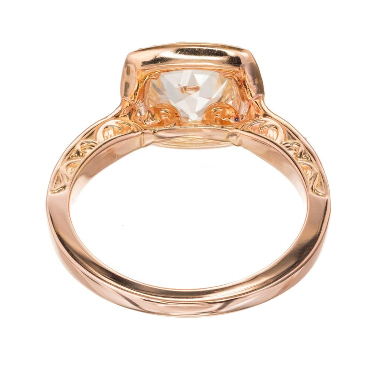 EGL Certified Peter Suchy 1.54 Carat Diamond Gold Halo Engagement Ring For Sale 3