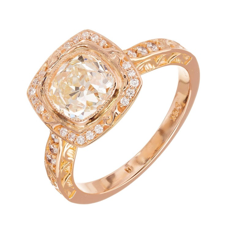 EGL Certified Peter Suchy 1.54 Carat Diamond Gold Halo Engagement Ring For Sale