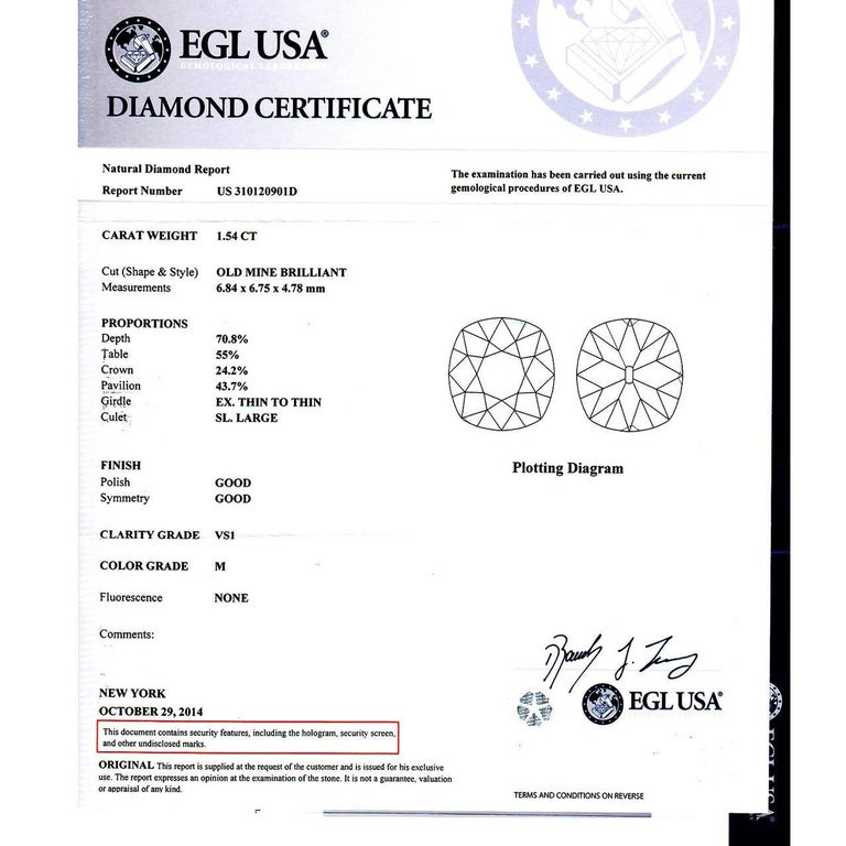EGL Certified Peter Suchy 1.54 Carat Diamond Gold Halo Engagement Ring For Sale 4