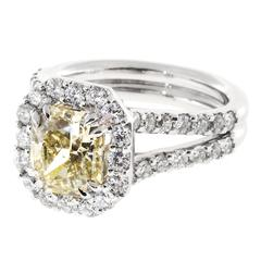 Peter Suchy Natural Yellow Diamond Platinum Ring