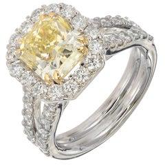 Peter Suchy 3.03 Carat Natural Yellow Diamond Halo Platinum Engagement Ring