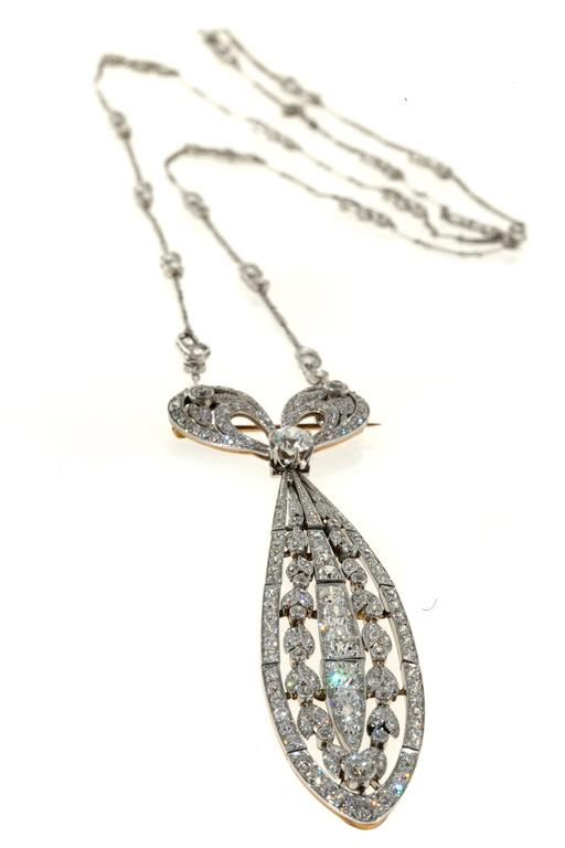 Tiffany & Co. Diamond Platinum Bow Pin Pendant  For Sale 1