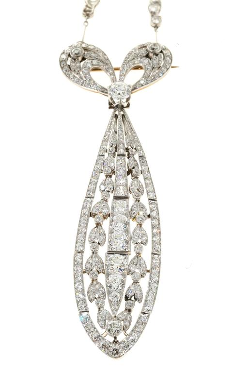 Tiffany & Co. Diamond Platinum Bow Pin Pendant  For Sale 4